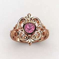Pink Tourmaline Rose Gold Ring. Usually gold isn't me, but this is pretty.