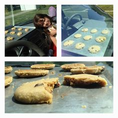 It hit 100 degrees in Des Moines today, so we baked cookies on the dashboard of the car.