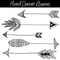 Hand Drawn Arrows Clip Art // Native American Style // Feathers // Patterns // Wedding Invitation // Design Elements // Commercial Use