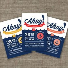 Nautical Birthday Invitation for Kids Party, 1st, 2nd, 3rd, 4th, 5th birthday invites for boy or girl - pdf printables or jpeg. $16.00, via Etsy.