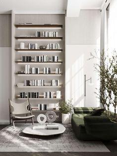 Open Plan Apartment, Mezzanine Bedroom, Shelving Design, Green Sofa, Small Loft, Clever Design, Simple Colors, Office Interior Design, Scandinavian Interior