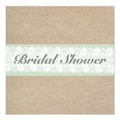 Burlap  Lace Mint Customizable Bridal Shower Invitation