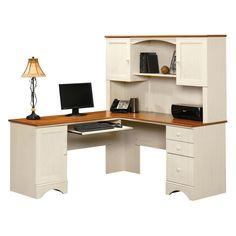 Sauder Harbor View Corner Computer Desk with Hutch - Antiqued White - Desks at Hayneedle