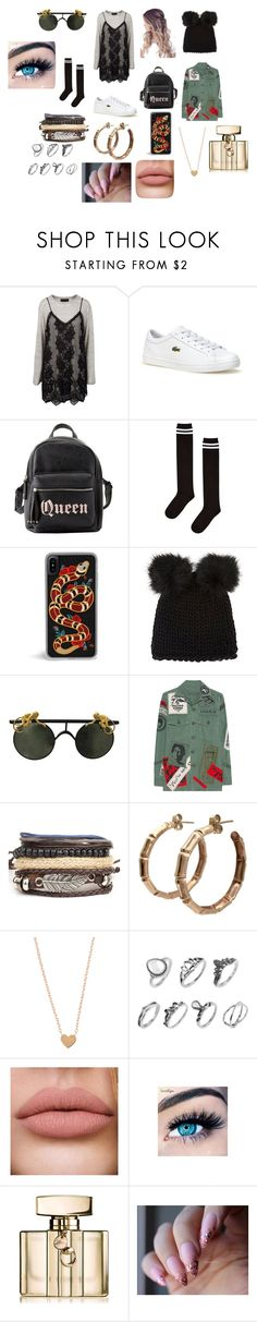 """""""Untitled #535"""" by gracemunro ❤ liked on Polyvore featuring Lacoste, Charlotte Russe, Topshop, Barneys New York, MadeWorn, MINX and Gucci"""