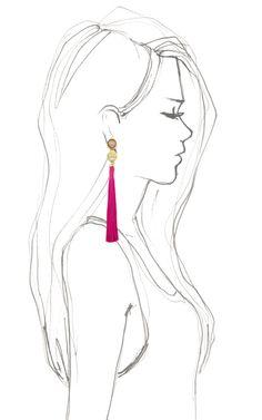 Lizzie Fortunato Hibiscus Tassel Earrings Resort 2013 Bff Drawings, Girl Drawing Sketches, Art Drawings Sketches Simple, Pencil Art Drawings, Woman Drawing, Cool Drawings, Drawing Tips, Drawing Ideas, Side View Drawing
