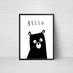Bear Nursery Print Hello Bear Art Black and White by EVEprints