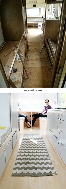 What a great airstream transformation! Airstream Remodel, Airstream Renovation, Travel Trailer Remodel, Airstream Interior, Vintage Airstream, Airstream Trailers, Vintage Trailers, Caravan Living, Rv Living