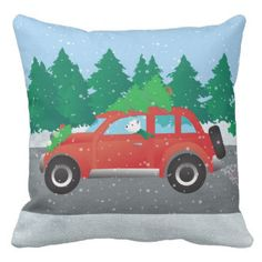 Westie Driving Christmas Car with tree on top Pillows