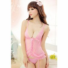 2a1l011 Stunning lace chemises w g-string , free size, pink for R$120.00