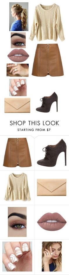 """Brown Leather Ring Circle Zip Skirt"" by bleu-hightops ❤ liked on Polyvore featuring Carré Royal, Lime Crime and LULUS"