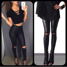 """❗️WED❗️ Leather Look Cut Out Knee Slit Leggings Coming Wednesday! Preorder available. Super chic and blogger favorite knee slit oil slick leggings. S (0-4) M (6-8) L (10-12). Brand new. If in between sizes, size up. Inseam approx 30"""". Pants Leggings"""