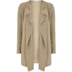 Dorothy Perkins Petite Waterfall cardigan (63 AUD) ❤ liked on Polyvore featuring tops, cardigans, beige, petite, waterfall tops, waterfall cardigan, dorothy perkins, petite tops and brown cardigan