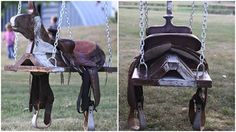 Bring a little Country to your yard with this outdoor horse and saddle swing! ~ Budget101 If you want to build your own, check craigslist for a cheap used saddle, I happen to have 4 just hanging around.
