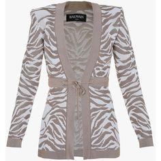 Balmain Tiger jacquard knit cardigan ($1,755) ❤ liked on Polyvore featuring tops, cardigans, balmain, white top, white knit cardigan, knit tops and long sleeve knit tops