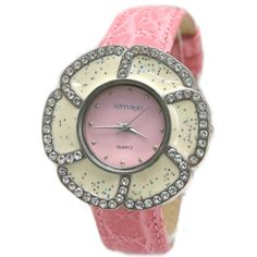 FW920A NATURAL Pink Band PNP Shiny Silver Watchcase Ladies Flower Fashion Watch