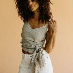 ST. AGNI Jour Linen Wrap Top - Natural