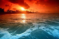 Ocean at dusk Wall Mural | Eazywallz