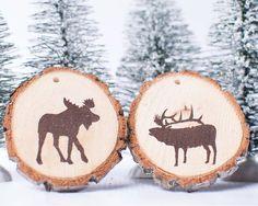 Wood slice ornament set of 2-- Rustic ornament,  Wood ornament ,Christmas ornament, Rustic Christmas, rustic decor, rustic,moose, elk ,decor...