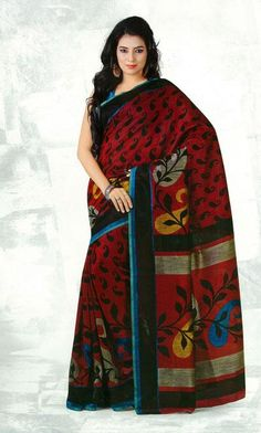 USD 38.17 Maroon Silk Flower Printed Saree   37118