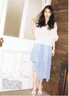 IU // shimmery blue skirt & floaty blouse