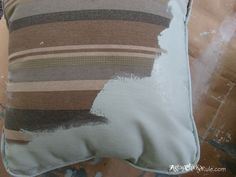 Chalk Painted Pillows During Painting (Annie Sloan Chalk Paint)