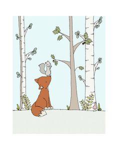 Woodland Nursery, Fox Nursery Art -- Bushy-tailed Friends -- Fox and Squirrel, Fox Art, Woodland Art Print, Children Art, Kids Wall Art