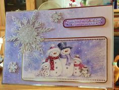Christmas Card - - makings from Hunkydory (plus snowflakes from craft stash) Hand Made Greeting Cards, Making Greeting Cards, Xmas Cards, Christmas Past, Christmas Ideas, Christmas Crafts, Christmas Ornaments, Hunkydory Crafts, Hunky Dory