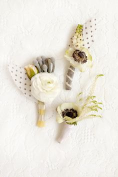 anemone + dotted feather boutonnieres // photo by Chudleigh Weddings