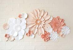 Handmade Three Colour Paper Flower Wall Display