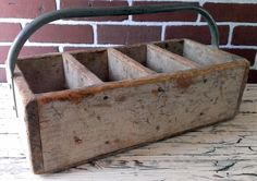 Vintage Primitive Handmade Tool Box Tote With Metal by HunkoFunko, $30.00