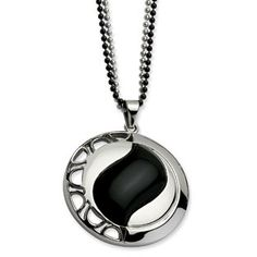 Women's Stainless Steel Onyx Circle Pendant Double Necklace Jewelry Available Exclusively at Gemologica.com