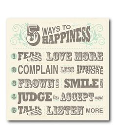 This '5 Ways to Happiness' Canvas is perfect! #zulilyfinds