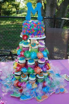 Cool Luau Themed Cupcake Tower and Cake...
