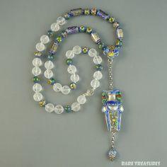 Chinese Antique Silver Enamel Needle Case Pendant Necklace from raretreasures on Ruby Lane