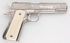 COLT 1911A1 GOVT CUSTOMIZED ENGRAVED NICKEL IVORY GRIPS 45 ACP PISTOL Item: 11375058 | Mobile GunAuction.com-SR