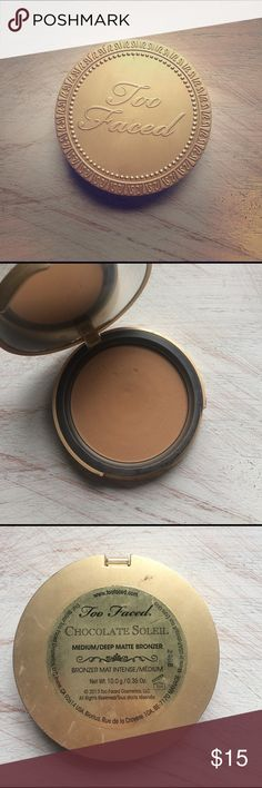 Too faced chocolate soleil About half used! Well loved, still great condition! Too Faced Makeup Bronzer