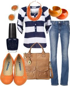 Navy striped top with peach shoes and statement necklace.
