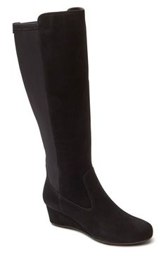 Rockport 'Total Motion' Knee High Wedge Boot (Women) (Wide Calf) available at #Nordstrom