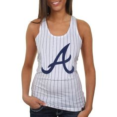 New Era Atlanta Braves Ladies Striped Baseball Tank - White