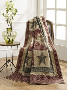 Patchwork Quilted Throw Blanket Plymouth Burgundy Primitive Quilt FREE SHIPPING #MarketStreet #Country