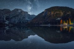Dolomites, Braies Lake on a cold clear autumn night. — Albert Dros Photography.