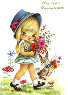 ❤️Nuco ~ Sweet Big Eyed Girl walking in the Garden, Vintage Postcard  | by PrettyPostcards
