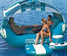 Turn the most desolate beach into a five star locale with the floating cabana island. With amenities such as a wind resistant shade top, an anchor system to keep you from drifting away to another continent, and plenty of room for friends, you'll never want the day to end.