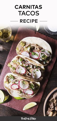 These tender braised pork tacos are topped with a bright and tangy tomatillo salsa. Pork Recipes For Dinner, Roast Recipes, Grilling Recipes, Mexican Food Recipes, Snack Recipes, Ham Recipes, Free Recipes, Carnitas Tacos, Pork Tacos