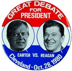 1980 pin regarding the Presidential Debate for President Jimmy Carter and President elect Ronald Reagan Jimmy Carter, Ronald Reagan, Presidential Election, Presidents, Change, America, This Or That Questions, History, 1980s
