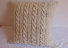Off White Cable Knit Pillow Cover Throw Pillow by Adorablewares
