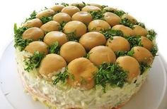 """Salad """"Mushroom glade"""" Ingredients: mushrooms - 1 Bank green onion and dill cooked meat carrots in Korean - 200 g hard cheese - 200 g potatoes boiled Top Salad Recipe, Christmas Salad Recipes, Appetizer Salads, Food Decoration, Just Cooking, Cooking Food, Cooking Recipes, I Love Food, No Cook Meals"""