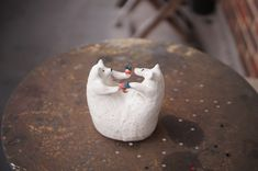 Apple Flowers, Give And Take, Zoo Keeper, Flower Pots, Stoneware, Organic, Vase, Bear, Sculpture