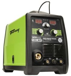 """The Forney 322 140-Amp MIG/Stick/TIG Multi-Process Welder is a new machine for Forney and offers quality functions like spool gun capability (bought seperately), standard MIG and synergic MIG modes, Stick electrode holder, fast """"euro"""" design detach torch, longer gun/torch with common consumables, HD cast aluminum feed/drive system with tailored idler and drive rolls."""