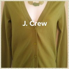 """""""Stay True to The Crew"""" NWOT cardigan Sweet and soft brand new without tags cardigan by J. Crew!! 100% Merino wool! Wow!! This is a beautiful apple green color. 5 buttons up the front. Great for layering!! J. Crew Sweaters"""